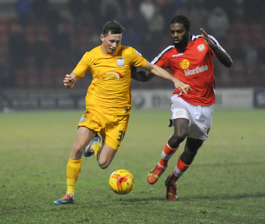 Preston North End's Alan Browne battles with Crewe Alexandra's Anthony Grant<br /> <br /> Photographer Craig Thomas/CameraSport<br /> <br /> Football - The Football League Sky Bet League One - Crewe Alexandra v Preston North End - Sunday 28th December 2014 - Alexandra Stadium - Crewe<br /> <br /> &copy; CameraSport - 43 Linden Ave. Countesthorpe. Leicester. England. LE8 5PG - Tel: +44 (0) 116 277 4147 - admin@camerasport.com - www.camerasport.com