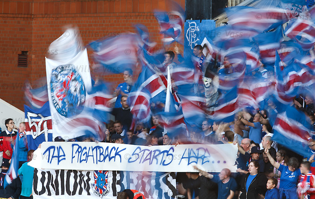 Rangers fans begin the fightback at the first home match of the season.