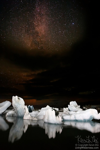 Icebergs and Milky Way, Jökulsárlón, Iceland