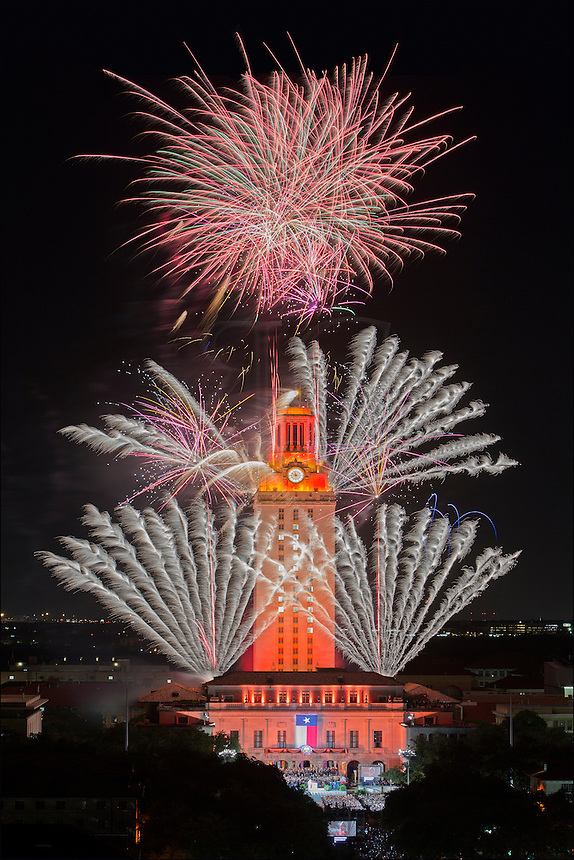 Fireworks complete the Graduation ceremony for the University of Texas Graduates in the spring of 2014. Near downtown Austin, these fireworks are an annual show.