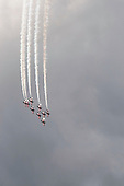 RAF's Red Arrows display team at the Farnborough International Airshow.