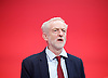 Labour Party Conference <br /> Day 4<br /> 30th September 2015 <br /> Brighton Centre, Brighton, East Sussex <br /> <br /> <br /> Jeremy Corbyn MP<br /> Leader of the Labour Party <br /> at conference closing singing the Red Flag <br />  <br /> Photograph by Elliott Franks <br /> Image licensed to Elliott Franks Photography Services