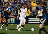 Kyle Beckerman of Real Salt Lake in action during the game against the Earthquakes at Buck Shaw Stadium in Santa Clara, California on March 27th, 2010.   Real Salt Lake defeated San Jose Earthquakes, 3-0.