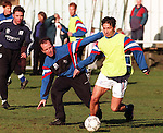 Trevor Steven and Derek McInnes training for Rangers at Peel St cricket ground, Partick