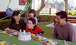 San Diego CA Nuclear family celebrating son's fifth birthday, Latino father, sister two-years-old  MR