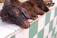 A row of goats heads for sale on the counter of the butcher shop in Sefrou, Morocco