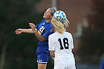 14 November 2014: South Dakota State's Tori Poole (21) and North Carolina's Megan Buckingham (18). The University of North Carolina Tar Heels hosted the South Dakota State University Jackrabbits at Fetzer Field in Chapel Hill, NC in a 2014 NCAA Division I Women's Soccer Tournament First Round match. UNC won the game 2-0.