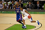 31 MAR 2012:  Doron Lamb (20) of the University of Kentucky drives downcourt against Tyshawn Taylor (10) of the University of Kansas in the championship game of the 2012 NCAA Men's Division I Basketball Championship Final Four held at the Mercedes-Benz Superdome hosted by Tulane University in New Orleans, LA. Kentucky defeated Kansas 67-59 to win the national title. Brett Wilhelm/NCAA Photos