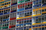 Europe, France, Lille. Colorful windows of the apartments adjacent to Lille Station.