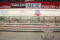 The meat and poultry section with Kirkland meat sign at Costco selling USDA Choice Grade Beef (USDA = United States Department of Agriculture). Costco, California, USA