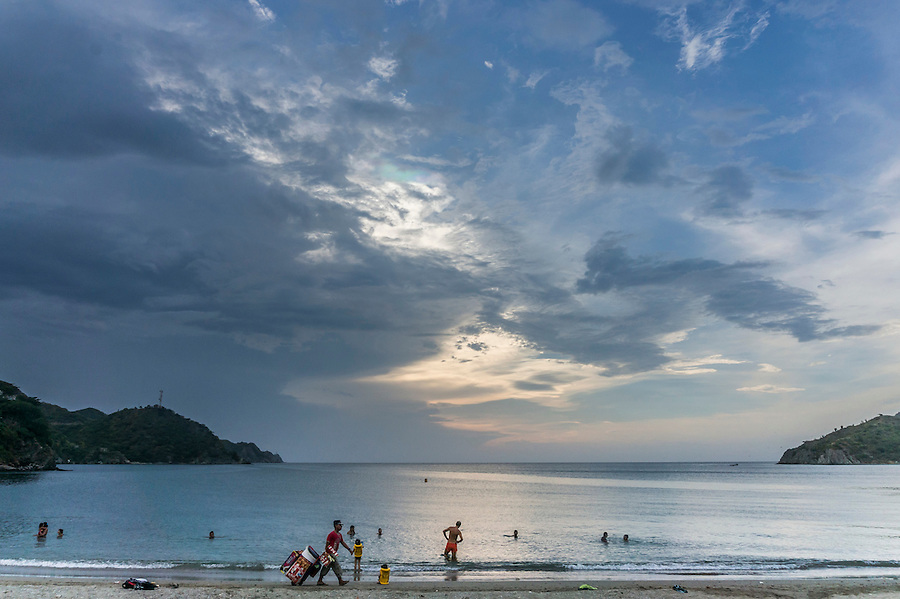 Evening on the beach at Taganga near Santa Marta, Colombia.  The once small fishing village on the Caribbean has become a popular hub for tourists visiting nearby Tayrona National Park.