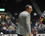 "Ole Miss vs. Arkansas Little Rock head basketball coach Steve Shields at the C.M. ""Tad"" Smith Coliseum in Oxford, Miss. on Friday, November 16, 2012. Ole Miss won 92-52."