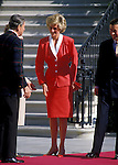 Diana Princess of Wales is the center of attention upon her arrival at the White House in November 1985.