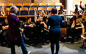 Actors, Director and technical staff after a dress rehearsal for Shakespeare's Macbeth, Rose Bruford College, Sidcup, Kent.