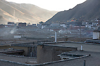 The monks housing and the Great Assembly hall in the monastery of Labrang, where riots have erupted in march 2008. Today the community counts around 1,500 monks.
