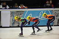 SHORTTRACK: AMSTERDAM: 05-01-2014, Jaap Edenbaan, NK Shorttrack, 1000m, Rianne de Vries (#71), Rosalie Huisman (#68), Jorien ter Mors (#70), ©foto Martin de Jong