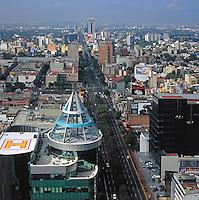 aerial view above Insurgentes Avenue Mexico City