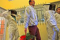 France. Penitentiary of Le Havre. Suited up, Philippe Cordier and the youths pass through the double-door entrance to the outside.///France. Centre Pénitancier du Havre. Habillés, Philippe Cordier et les jeunes passent le sas vers l'extérieur.