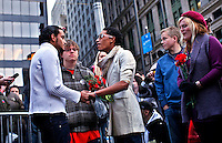 UNITED STATES, NEW YORK,  November 19, 2011..Ivan Cabrera (R) and Jonathan Lopez (C-L) A gay couple of Protesters affiliated with the Occupy Wall Street movement Celebrates Their symbolic wedding at Zuccotti Park, In Lower Manhattan New York November 19, 2011. VIEWpress /Kena Betancur.