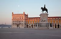 Placa do Commercio or Commerce Square, Lisbon, Portugal, with the equestrian statue of King Jose I trampling on snakes, 1775, by Machado de Castro. The square was previously known as Terreiro do Paco or Palace Square as it was the site of the Pacos da Ribeira or Royal Ribeira Palace until it was destroyed in the 1755 earthquake. Picture by Manuel Cohen