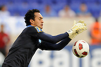 Guatemala goalkeeper Ricardo Jerez (1) makes a save during a CONCACAF Gold Cup group stage match at Red Bull Arena in Harrison, NJ, on June 13, 2011.
