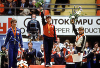 (L-R) Maxi Gnauck of East Germany (silver), Elena Shushunova of Soviet Union (gold) and Oksana Omeliantchik of Soviet Union (bronze) are the All Around medalists at 1985 European Championships in women's artistic gymnastics at Helsinki, Finland in late April, 1985.  Photo by Tom Theobald.