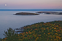 The Lake Superior shoreline in autumn fall color as seen from atop Sugarloaf Mountain at Marquette Michigan on Michigans Upper Peninsula.
