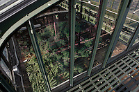 Plant History Glasshouse (formerly Australian Glasshouse), 1830s, Rohault de Fleury, Jardin des Plantes, Museum National d'Histoire Naturelle, Paris, France. Oblique high angle view looking down from the first floor metal walkway, through the glass windows, to the plants below.