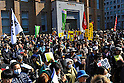 Tokyo, Japan - March 11: People gathered and got ready for a demonstration against nuclear power plants at Hibiya Park, Chiyoda, Tokyo, Japan on March 11, 2012. As this day was one year anniversary of Great East Japan Earthquake and Tsunami, there were many demonstrations held in the city.