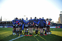 The Bath Rugby team huddle together during the pre-match warm-up. European Rugby Challenge Cup match, between Bath Rugby and Pau (Section Paloise) on January 21, 2017 at the Recreation Ground in Bath, England. Photo by: Patrick Khachfe / Onside Images