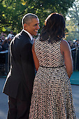 US President Barack Obama (L) and First Lady Michelle Obama (2R) chat prior to greeting Italian Prime Minister Matteo Renzi and Italian First Lady Agnese Landini during an official arrival ceremony on the South Lawn of the White House in Washington DC, USA, 18 October 2016. Later today President Obama and First Lady Michelle Obama will host their final state dinner featuring celebrity chef Mario Batali and singer Gwen Stefani performing after dinner. <br /> Credit: Shawn Thew / Pool via CNP