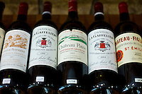 Fine wines, Chateau Pavie, Chateau La Gaffeliere, Chateau Figeac, Chateau Beausejour on sale in Ets Martin in St Emilion, Bordeaux, France