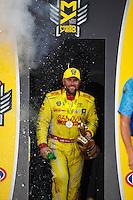 Sep 25, 2016; Madison, IL, USA; NHRA top fuel driver Shawn Langdon celebrates after winning the Midwest Nationals at Gateway Motorsports Park. Mandatory Credit: Mark J. Rebilas-USA TODAY Sports