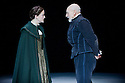 """London, UK. 22/02/2012. """"Bingo"""" by Edward Bond, opens at the Young Vic, starring Patrick Stewart as William Shakespeare. Picture shows: Catherine Cusack (as Judith) and Patrick Stewart (as William Shakespeare). Photo credit: Jane Hobson"""