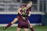 08 November 2013: Virginia Tech's Katie Yensen (3) celebrates her goal with Katie DeTuro. The University of Virginia Cavaliers played the Virginia Tech Hokies at WakeMed Stadium in Cary, North Carolina in a 2013 NCAA Division I Women's Soccer match and the semifinals of the Atlantic Coast Conference tournament. Virginia Tech won the game 4-2.