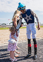 OLDSMAR, FL - JANUARY 21: Edwin Gonzalez, in the winners circle after winning the 4yr olds and up claiming race, on Skyway Festival Day at Tampa Bay Downs on January 21, 2017 in Oldsmar, Florida. (Photo by Douglas DeFelice/Eclipse Sportswire/Getty Images)
