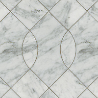 Vivian, a stone water jet mosaic, shown in Carrara, is part of the Ann Sacks Beau Monde collection sold exclusively at www.annsacks.com