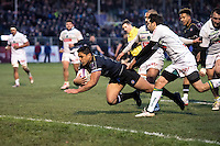 Ben Tapuai of Bath Rugby dives for the try-line. European Rugby Challenge Cup match, between Bath Rugby and Pau (Section Paloise) on January 21, 2017 at the Recreation Ground in Bath, England. Photo by: Dean McLachlan for Onside Images