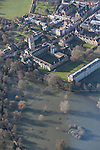 The River  Thames and Cherwell, Oxford in  flood . <br /> View towards Oxford ,  below is Magdelene College &amp; the Angel and Greyhound meadow in full flood, and central Oxford  behind.