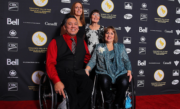 Ottawa, ON – Nov 27 2015 – Marni Abbott-Peter and her husband Peter Abbott poses for a photo at the Canadian Paralympic Hall of Fame in Ottawa, Ontario Nov 27, 2015. Abbott was inducted into the CPC Hall of Fame  n the athlete category. Photo Andre Forget / Canadian Paralympic Committee