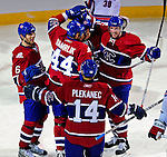 4 December 2008: Members of the Montreal Canadiens celebrate a goal against the New York Rangers during their first meeting of the season at the Bell Centre in Montreal, Quebec, Canada. The Canadiens, celebrating their 100th season, played in the circa 1915-1916 uniforms for the evenings' Original Six matchup. The Canadiens defeated the Rangers 6-2. *****Editorial Use Only*****..Mandatory Photo Credit: Ed Wolfstein Photo