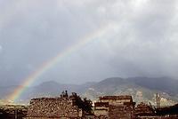 Rainbow over the ruins of Mitla, Oaxaca, Mexico