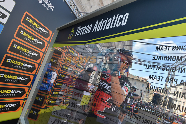 Greg Van Avermaet (BEL) BMC Racing Team at sign on before the start of Stage 6 of the 2017 Tirreno Adriatico running 168km from Ascoli Piceno to Civitanova Marche, Italy. 13th March 2017.<br /> Picture: La Presse/Gian Mattia D'Alberto | Cyclefile<br /> <br /> <br /> All photos usage must carry mandatory copyright credit (&copy; Cyclefile | La Presse)
