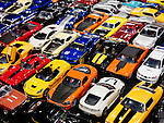 Sports cars, colorful die-cast models closeup