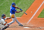 14 September 2008: Kansas City Royals' outfielder Jose Guillen hits an RBI single in the 6th inning against the Cleveland Indians at Progressive Field in Cleveland, Ohio. The Royal defeated the Indians 13-3 to take the 4-game series three games to one...Mandatory Photo Credit: Ed Wolfstein Photo