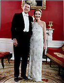 Inaugural Photo of United States President Ronald Reagan and first lady Nancy Reagan taken in the Red Room at the White House in Washington, DC before attending the Inaugural Balls on Tuesday, January 20, 1981.  .Mandatory Credit: Michael Evans - White House via CNP