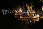 Crab and fishing boats docked at night the Harbor of Newport in Newport, Oregon off Pacific Coast Highway 101. Jim Urquhart/straylighteffect.com 7/23/09
