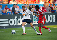 July 21, 2010  Bolton Wanderer Matt Taylor No. 7 and Toronto FC Faud Ibrahim in action during the Carlsberg Cup match between the Bolton Wanderers FC and Toronto FC at BMO Field in Toronto..Th Bolton Wanderrs FC won 4-3 on penalty kicks.