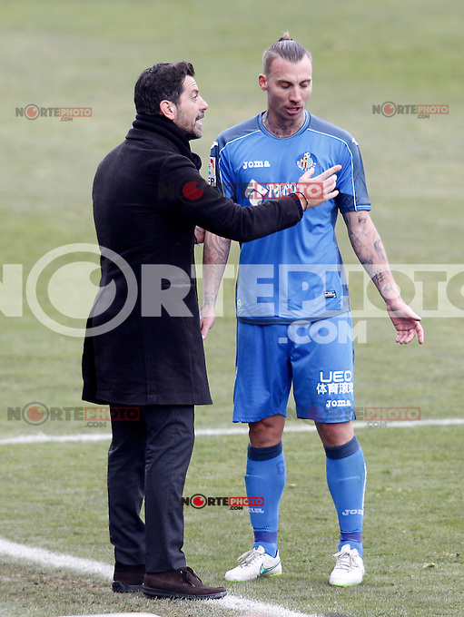 Getafe's coach Quique Sanchez Flores and Alexis Ruano during La Liga match.January 18,2013. (ALTERPHOTOS/Acero) /NortePhoto<br />