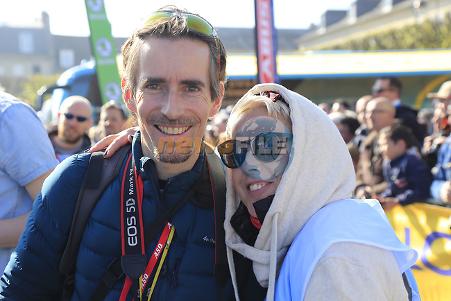 Irish journalist Shane Stokes and Irish photographer Karen Edwards at sign on for the 115th edition of the Paris-Roubaix 2017 race running 257km Compiegne to Roubaix, France. 9th April 2017.<br /> Picture: Eoin Clarke | Cyclefile<br /> <br /> <br /> All photos usage must carry mandatory copyright credit (&copy; Cyclefile | Eoin Clarke)